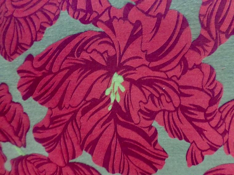 floral fabric red linen cotton